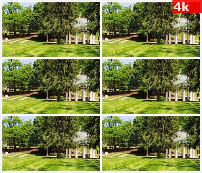 4K0779白色圆顶凉亭松树草坪自然美景高清实拍视频素材