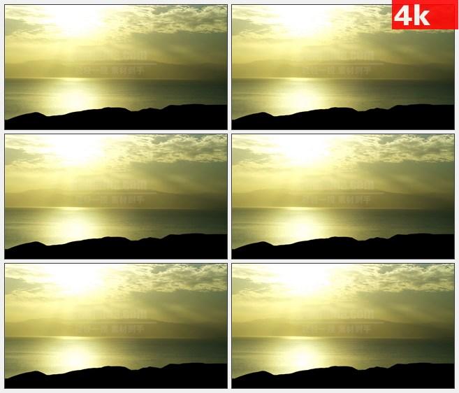 4K0785傍晚远山海边礁石海平面天际线高清实拍视频素材