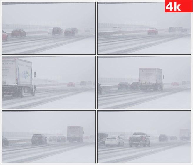4K0788暴风雪公路高速公路行车交通高清实拍视频素材