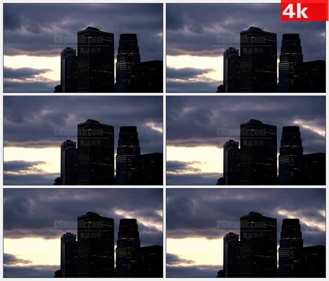 4K0813城市天际线高楼大厦乌云延时摄影高清实拍视频素材