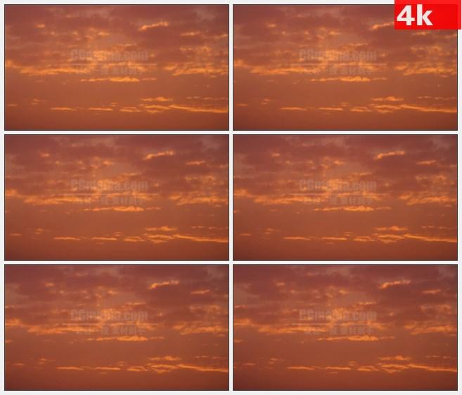 4K0820橙色夕阳云彩晚霞高清实拍视频素材