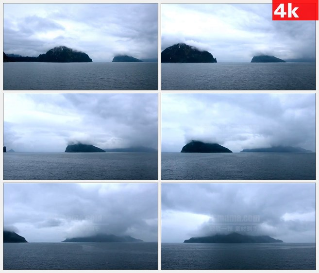 4K0823穿过阿拉斯加山脉高山航道云雾自然美景高清实拍视频素材