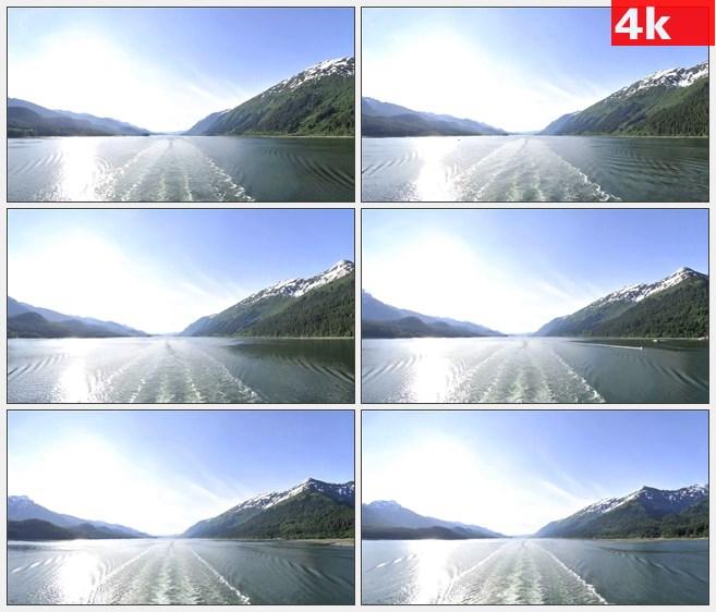4K0824穿过山脉航道水波纹航行高清实拍视频素材
