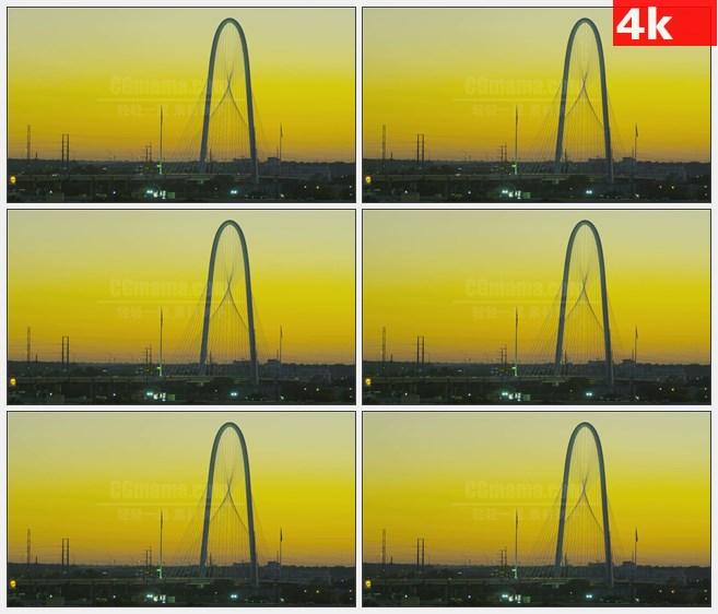 4K0828达拉斯 玛格丽特亨特山大桥黄色天空傍晚美景高清实拍视频素材