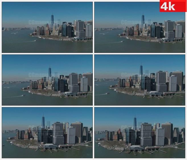 4K0854低空航拍美国曼哈顿海港城市游轮高清实拍视频素材