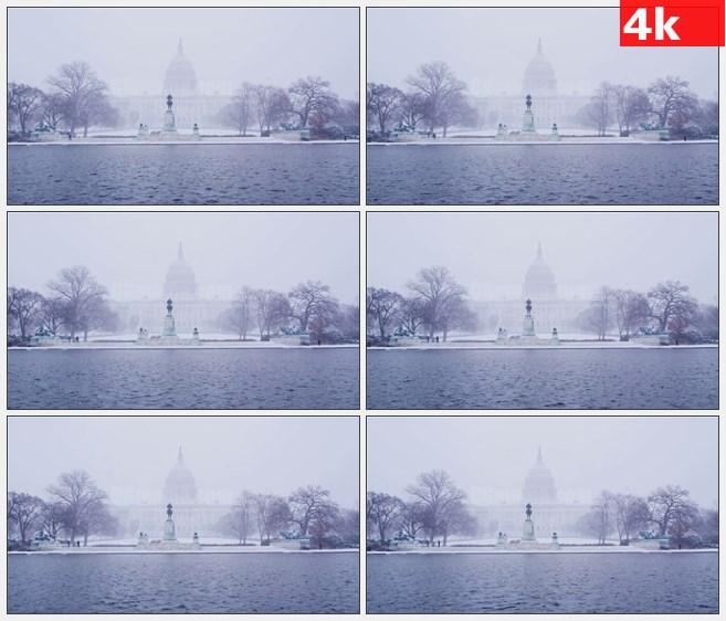 4K0860冬天暴雪美国国会大厦雕塑湖水波浪高清实拍视频素材