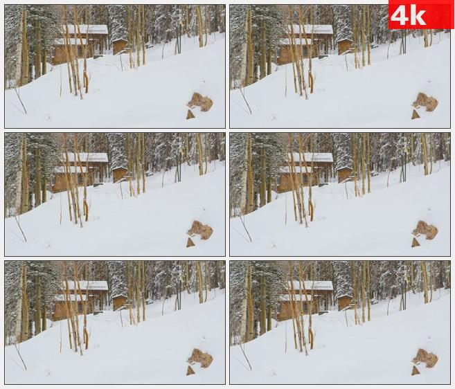 4K0863冬天雪山山中小屋积雪自然美景高清实拍视频素材
