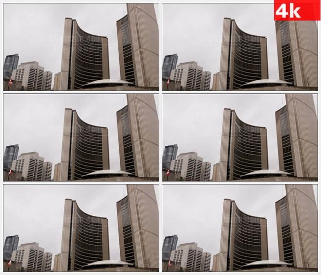 4K0872多伦多市政厅大楼高清实拍视频素材