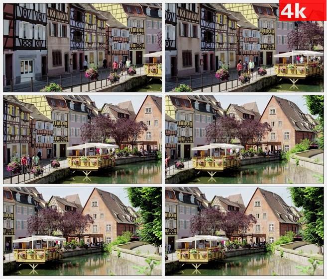 4K0878法国阿尔萨斯科尔马运河房屋游人高清实拍视频素材