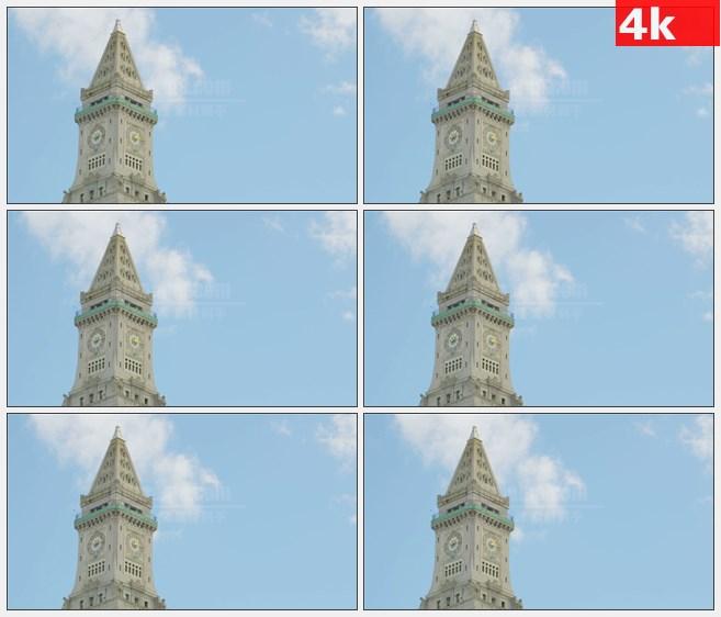4K0884法纳尔大厅时钟塔蓝天高清实拍视频素材