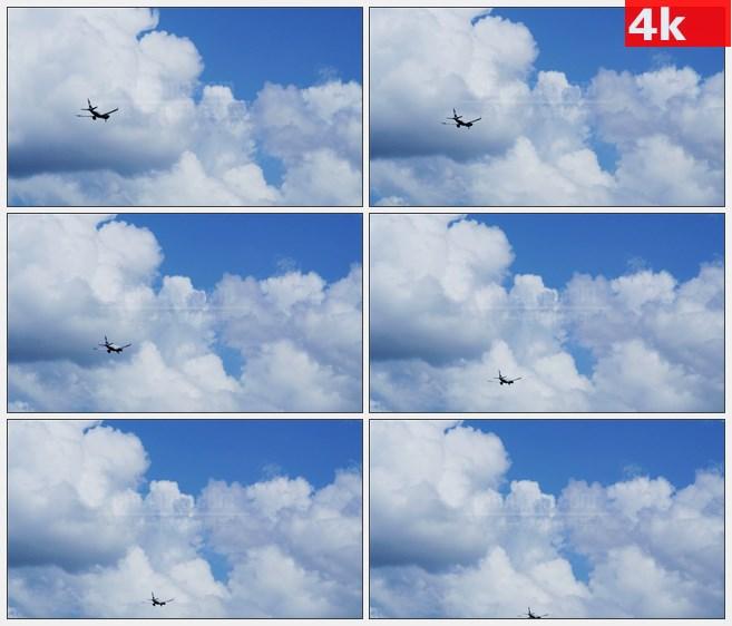 4K0895飞行中的飞机蓝天高清实拍视频素材