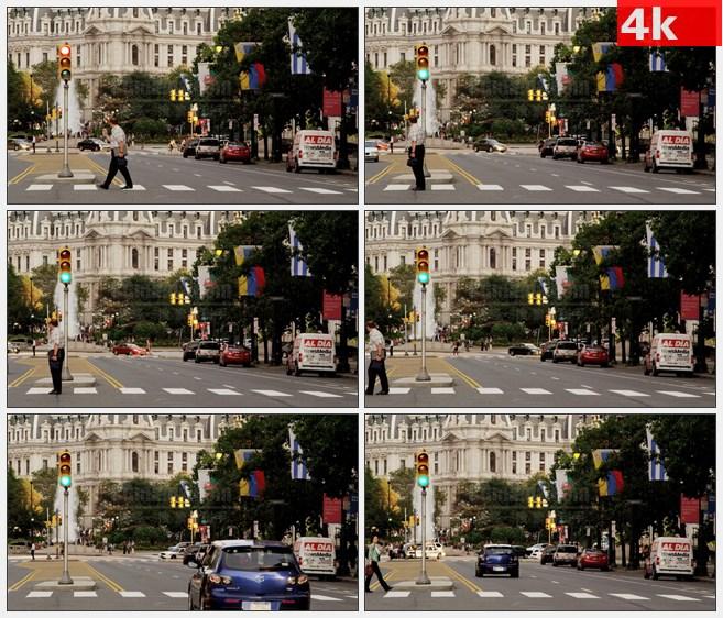4K0897费城城市街道人行横道行人高清实拍视频素材