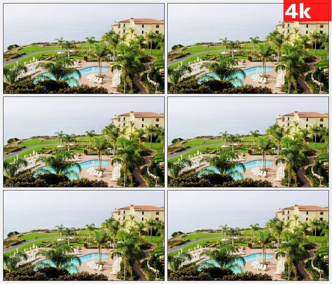 4K0912俯瞰滨海度假村游泳池高清实拍视频素材