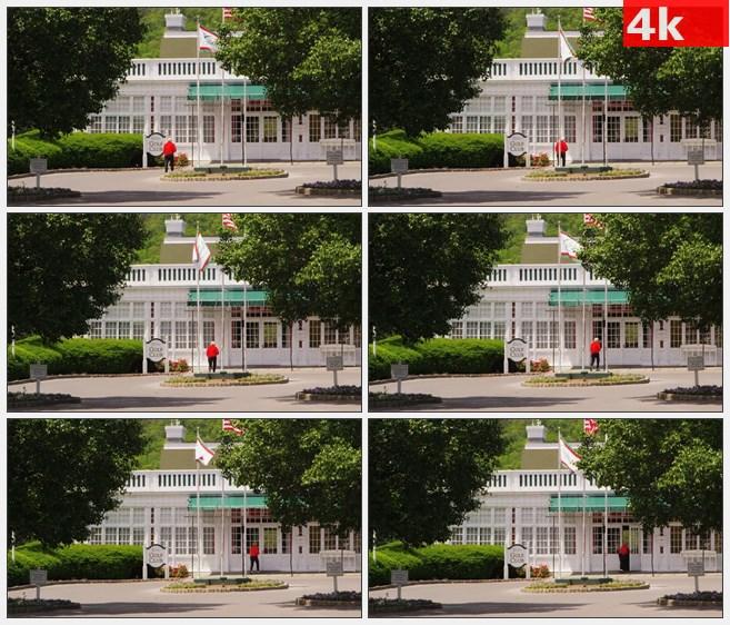 4K0919高尔夫俱乐部入口高清实拍视频素材