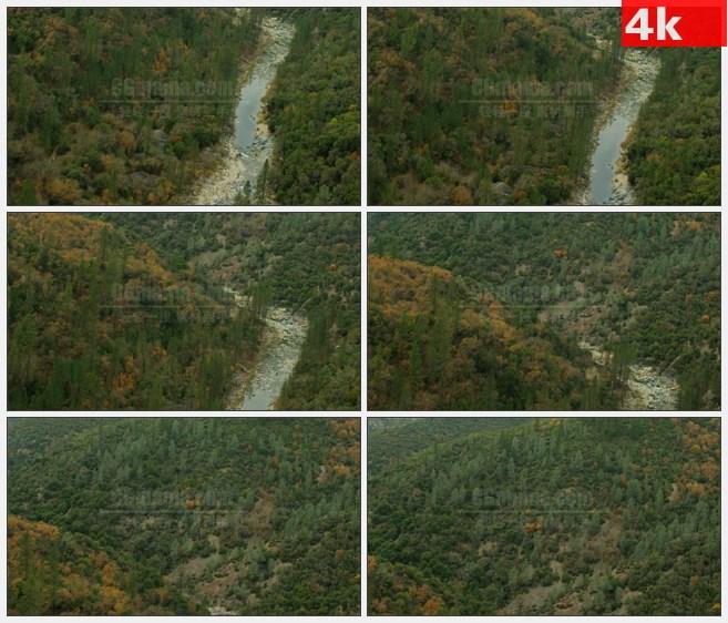 4K0921高空航拍高山森林树木山涧溪流碎石壮丽自然美景高清实拍视频素材