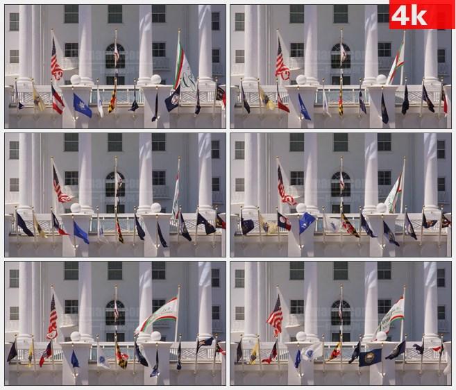 4K0927各国国旗挥动飘动高清实拍视频素材