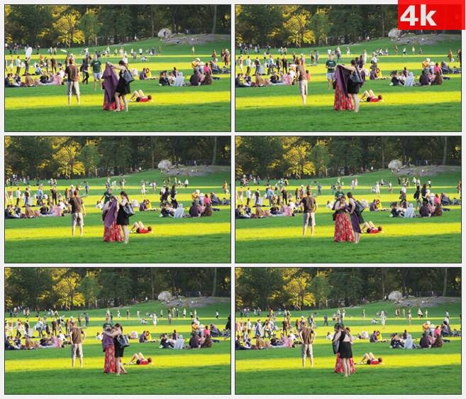 4K0935公园里休息的人群高清实拍视频素材