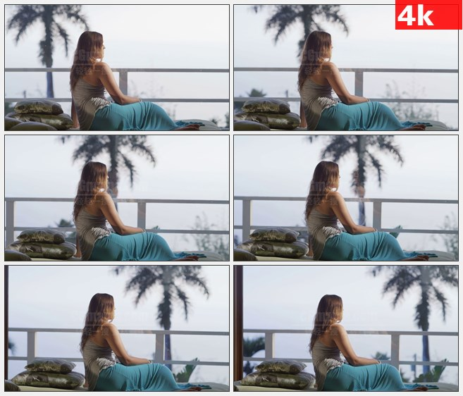 4K0952国外金发蓝裙子女孩海滩渡假高清实拍视频素材