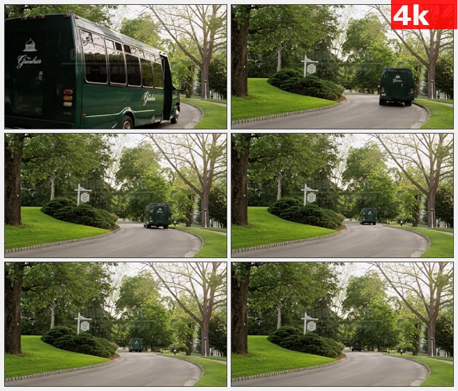 4K0955国外绿色林荫街道车高清实拍视频素材