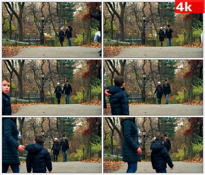 4K0956国外美国人们步行穿过公园在纽约高清实拍  视频素材