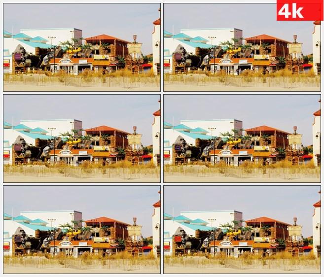 4K0963海边城市小镇高清实拍视频素材