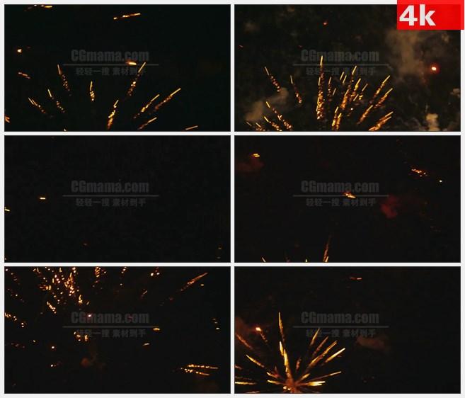 4K1030黄色红色烟花烟火绽放节日喜庆高清实拍视频素材