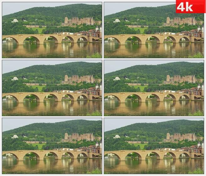 4K0971海德堡城堡和旧桥风景高清实拍视频素材