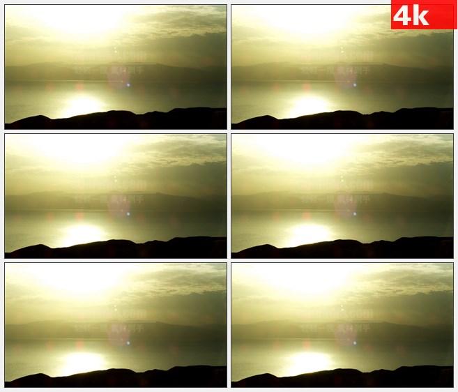 4K0985海洋远山山景晨光金黄色光芒高清实拍视频  素材