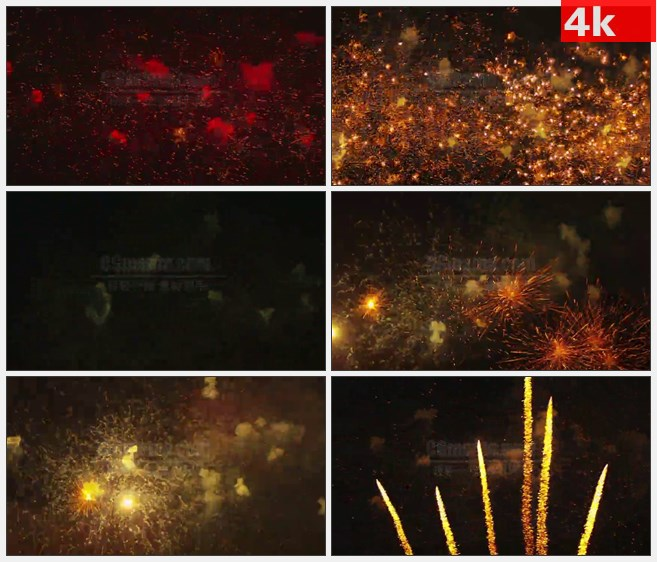4K1006红色烟花烟火夜晚天空绽放特写高清实拍视  频素材