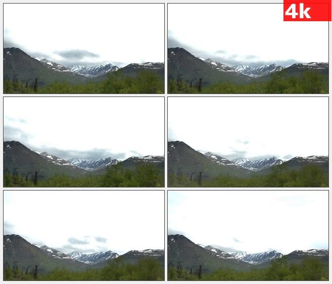4K1063巨大的阿拉斯加山脉天空流云自然美景高清实拍视频素材