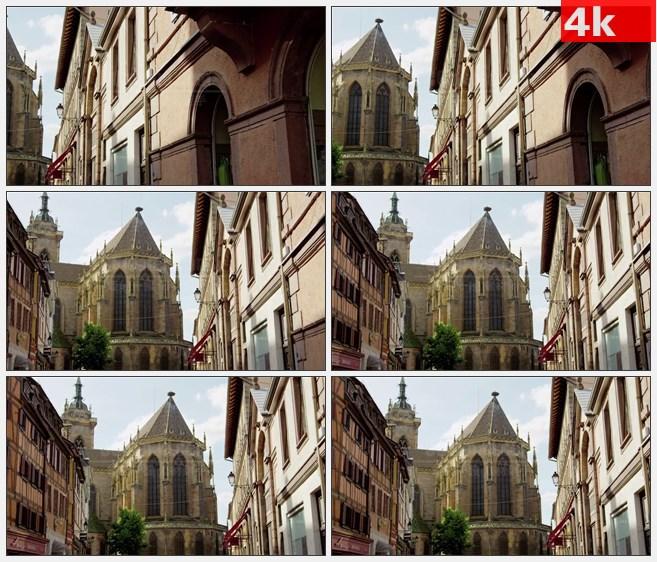 4K1074科尔马阿尔萨斯法国哥特式建筑高清实拍视频素材