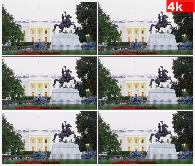 4K1127美国白宫围墙雕塑高清实拍视频素材