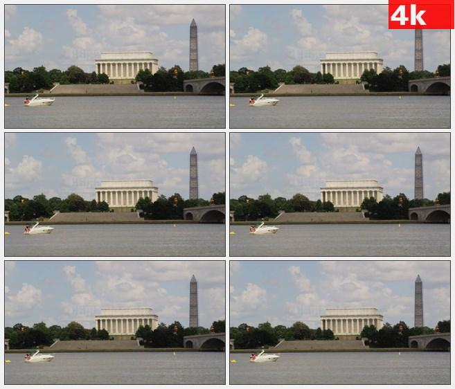 4K1092林肯纪念堂和华盛顿纪念碑河流游船高清实拍视频素材
