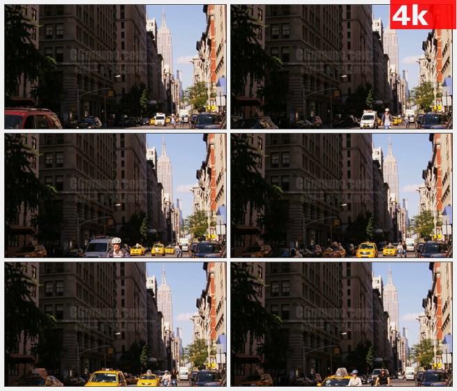 4K1144美国帝国大厦街道行人车流骑单车高清实拍视频素材