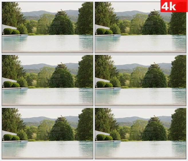 4K1099露天泳池树木高清实拍视频素材