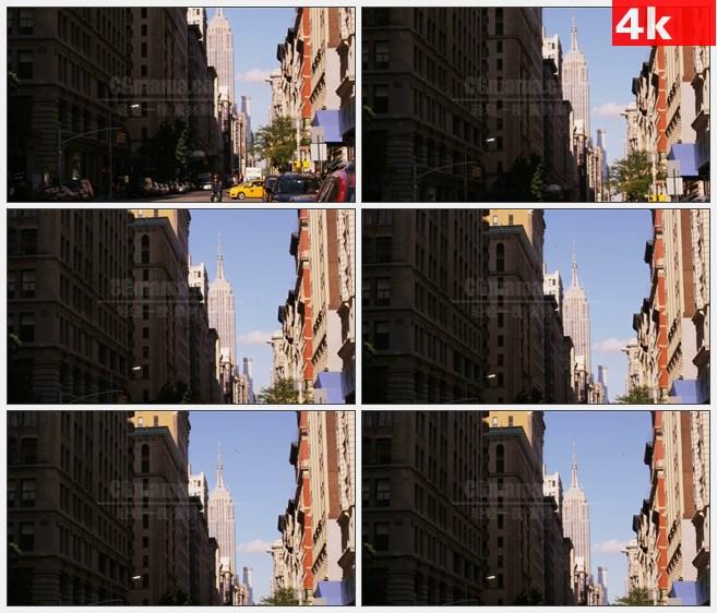 4K1145美国帝国大厦街区汽车骑单车高清实拍视频素材