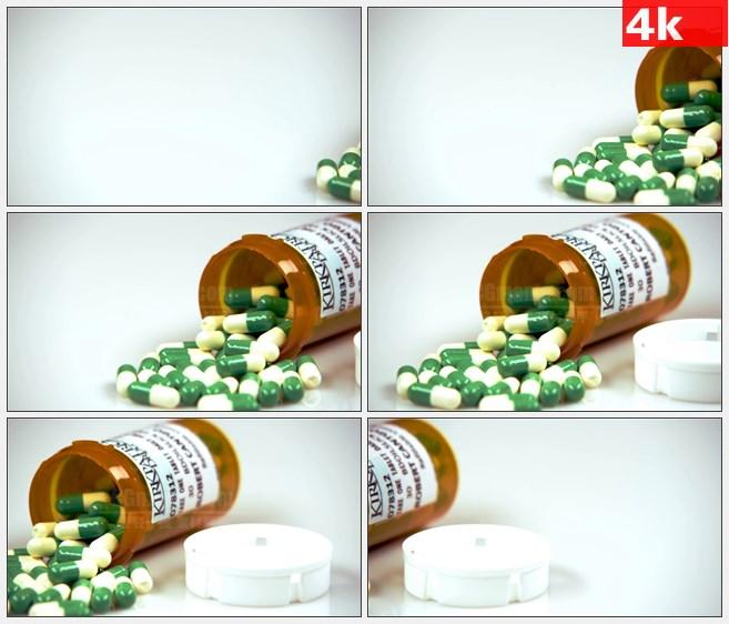 4K1106绿色白色胶囊药丸处方药瓶高清实拍视频素材