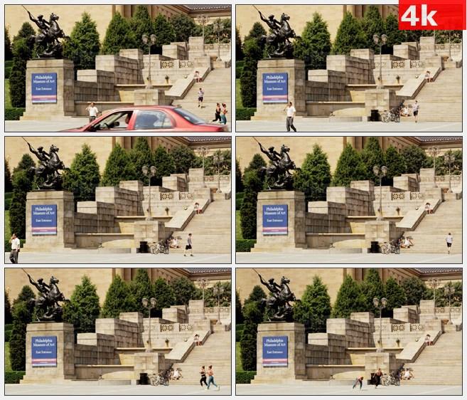 4K1153美国费城大学博物馆的艺术雕像阶梯高清实拍视频素材