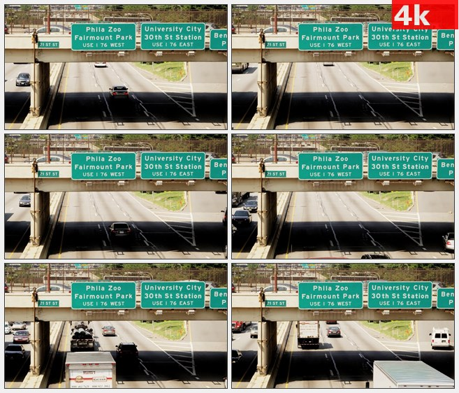 4K1154美国费城高速公路车流高清实拍视频素材