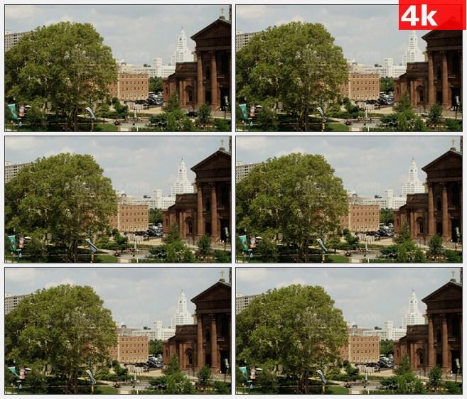 4K1155美国费城公园广场城市风光高清实拍视频素材