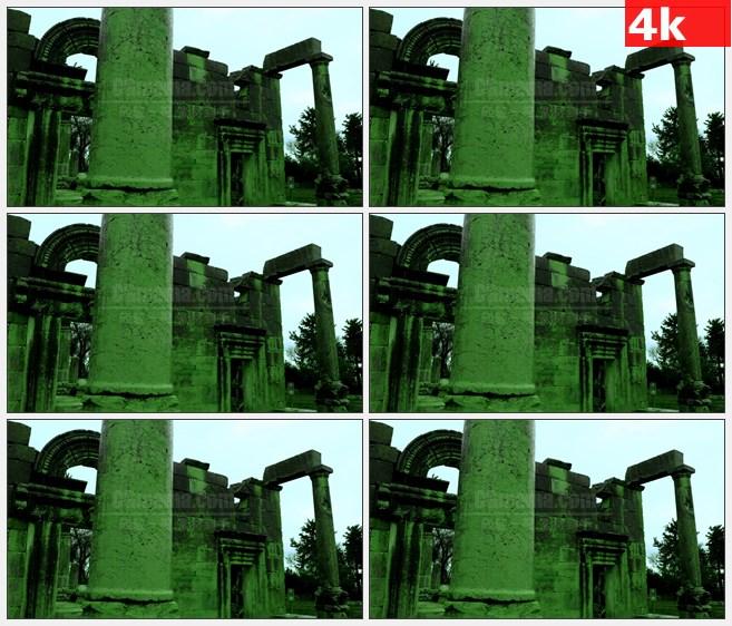 4K1112绿色调古犹太教堂废墟残垣断壁石柱拱门高清实拍视频素材