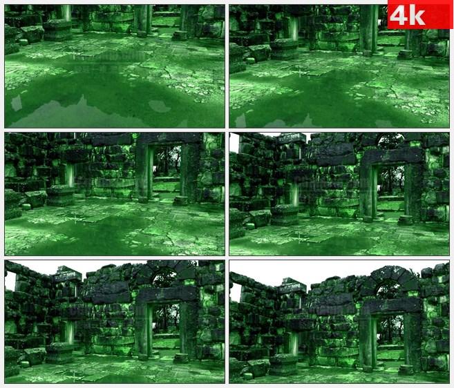 4K1115绿色调欧洲古代寺庙石头建筑遗址高清实拍视频素材