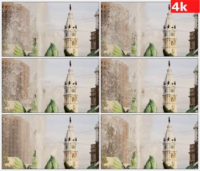 4K1158美国费城市钟鼓楼堂特写喷泉高清实拍视频素材
