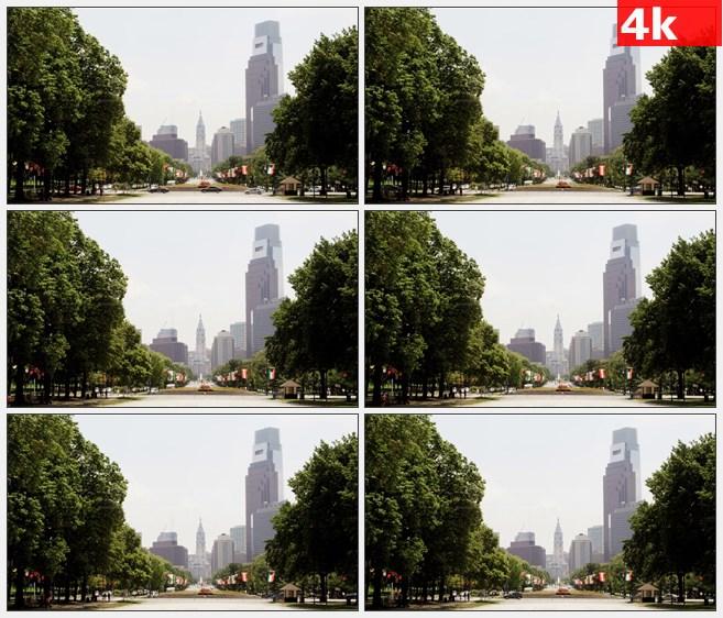 4K1176美国洛根和康卡斯特中心圈街道高清实拍视频素材