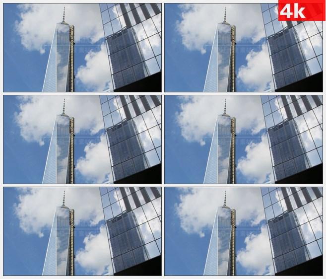 4K1221美国自由塔蓝色天空高清实拍视频素材