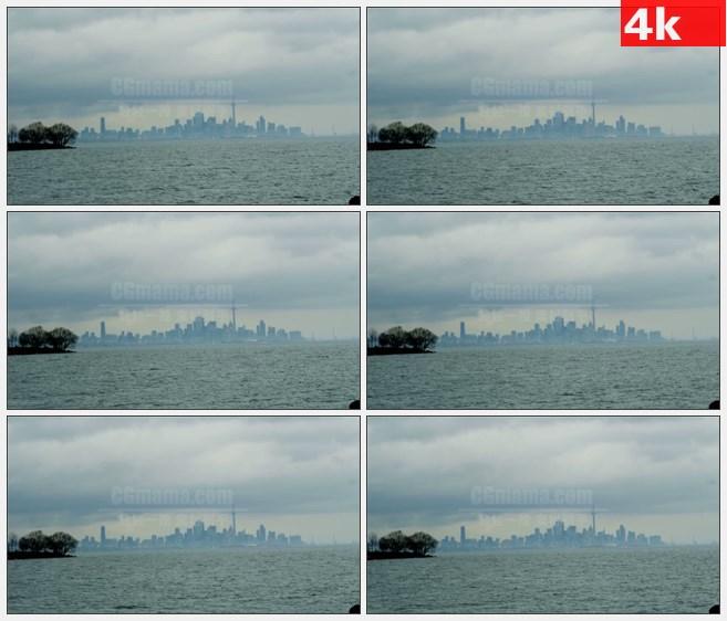 4K1225朦胧美国多伦多市中心隔海相望美景高清实拍视频素材
