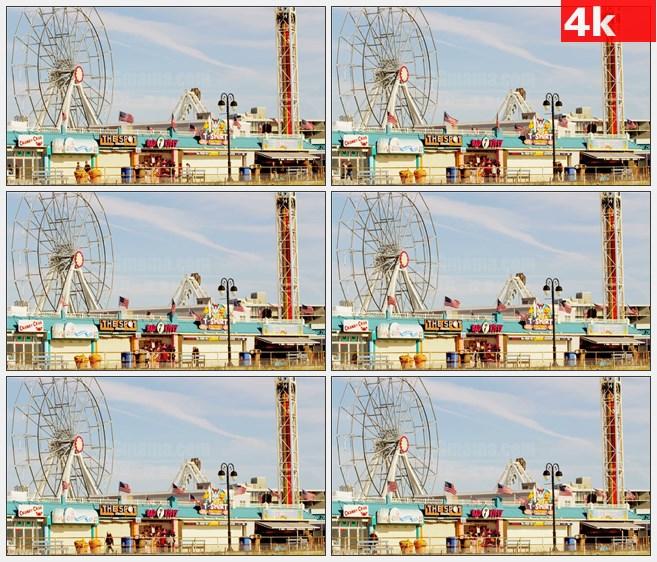 4K1238摩天轮海滩木板道游乐园高清实拍视频素材