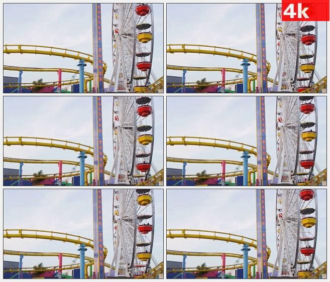 4K1239摩天轮和过山车在圣塔莫尼卡码头高清实拍视频素材