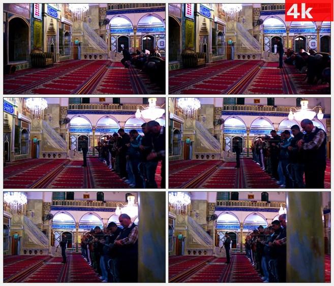 4K1248男子在清真寺祈祷跪拜信仰高清实拍视频素材