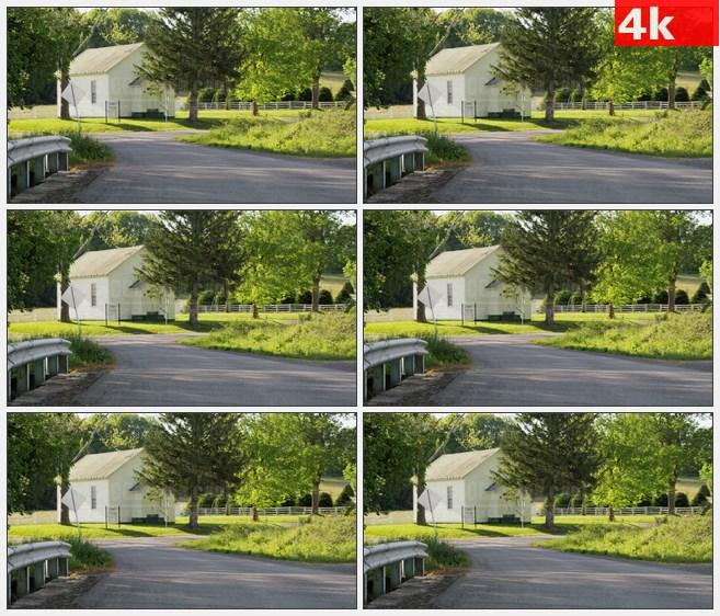 4K1275农场白色房子街道大树草地高清实拍视频素材
